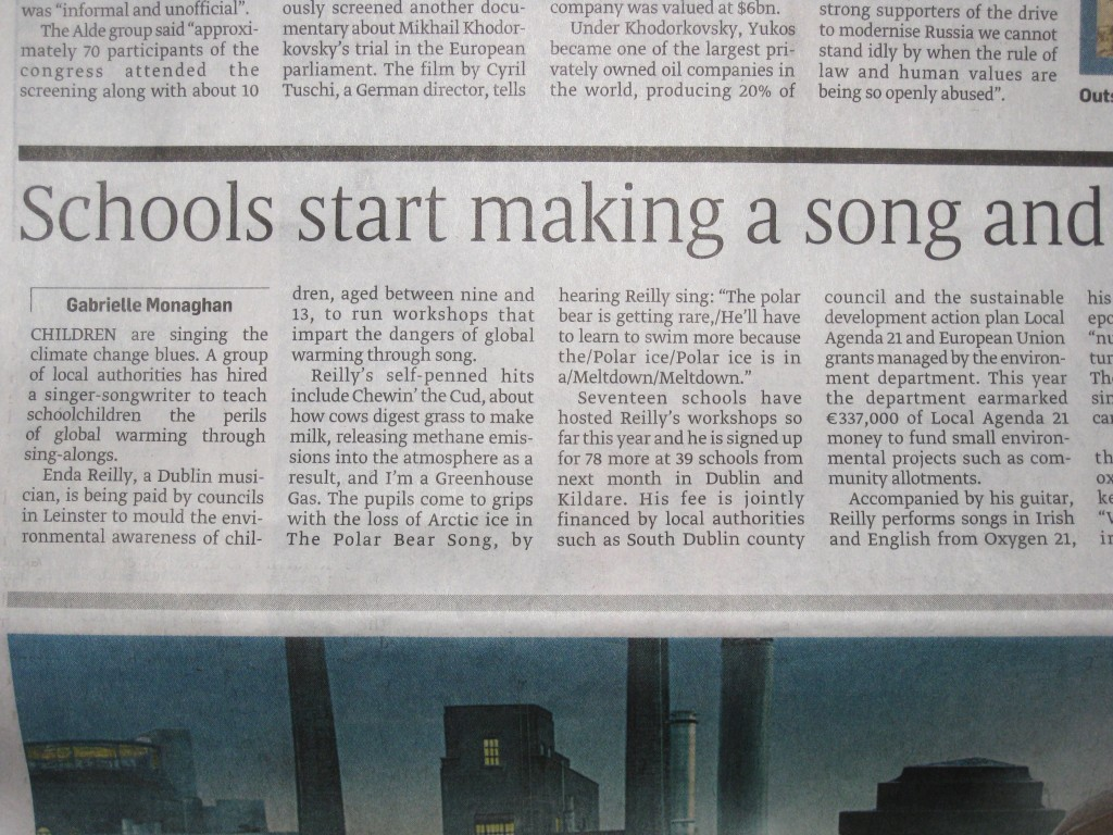 Enda Reilly - Climate Change Songs -Sunday Times Article - Part 1