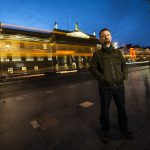 Enda Reilly at night outside GPO, on O'Connell Street Dublin by Dave Keegan.